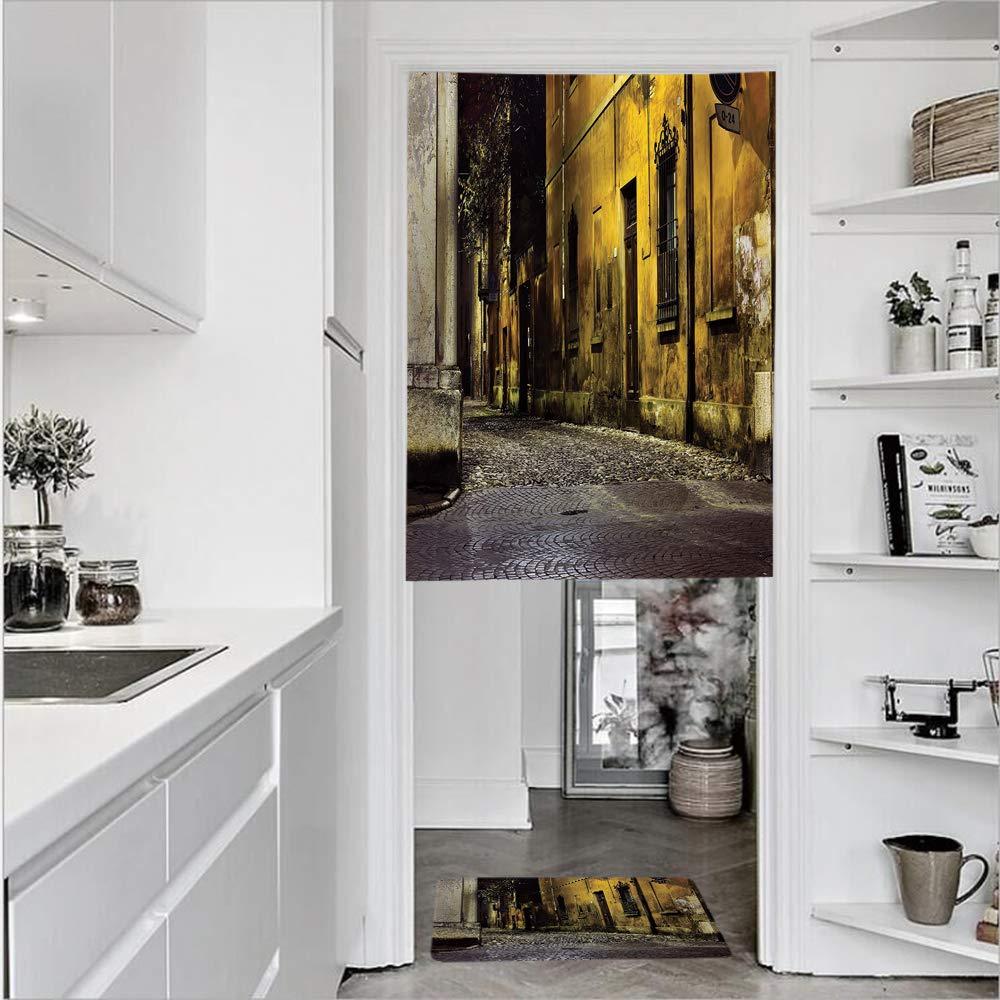 Cortinas de puerta con textura francesa de lino impreso en 3D, 1 panel y 1 alfombrilla de cocina, alfombra de invierno, nieve, paisaje de nieve, acero, diseño industrial, panel de puerta rural