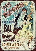 仮面舞踏会ブリキサインヴィンテージノベルティ面白い鉄の絵の具金属板