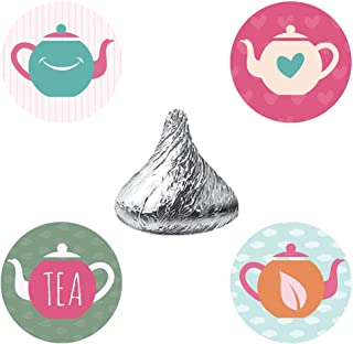 MAGJUCHE Tea Party Candy Stickers, Girl Teapot Wedding Or Birthday Favor Labels, Fit Hershey's Kisses, 304 Count