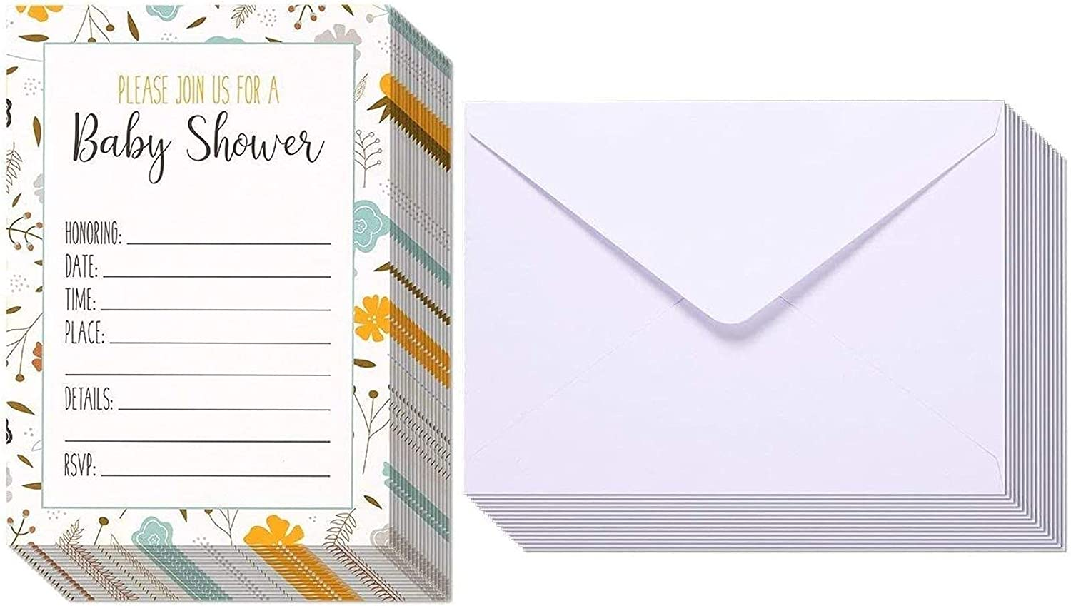 Floral Baby Shower Invitations with White Envelopes (5x7 In, 50 Pack)