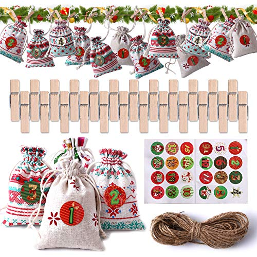Herefun Set de 24 Bolsas de Yute Calendario de Adviento, Bolsa de Regalo Navidad Bolsas de Lino Bolsa para Calendario de Adviento Calendario Navideño Calendario de Adviento Casero