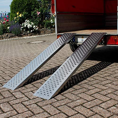 ECD Germany 2er Set Auffahrrampe - aus Aluminium - Antirutsch - 400kg 149cm - Reifenbreite bis 200mm - für Anhänger Motorrad ATV - Auffahrrampen Verladerampe Laderampe Verladeschiene Motorradrampe