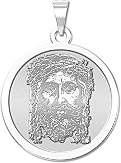PicturesOnGold.com Holy Face of Jesus Round Religious Medal - 2/3 Inch Size of Dime, Sterling Silver
