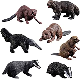 HOMNIVE Realistic Animal Figures - 7pcs Animals Action Model Includes Badger Beaver Anteater Wolverine - Educational Learning Toys Birthday Gift Set for Boys Girls Kids Toddlers