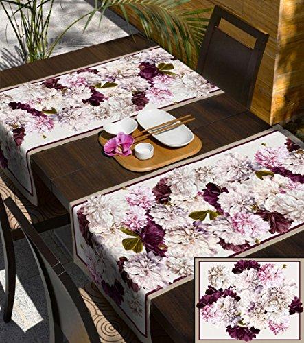 Rose 140 x 240 cm violet bruyère nappe 100 % coton-nappe avec motif forme fleckgeschützt wasserwabweisendes matériau facile d'entretien pratique motif fleur de printemps flower style folk, Coton, creme rosa, 140x240