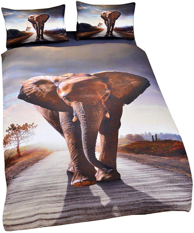 ZJXBEDDING Literie 3D, Ensembles De Housse De Couette HD impression Elephant 3 Pièces Ensemble De Literie en Microfibre à 100% pour Cadeau (1 Housse De Couette + 2 Taies d'oreiller) A-King(264cm228cm)