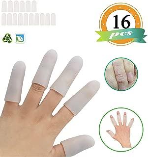 Gel Finger Cots,Finger Cover,Silicones Finger Protectors(16PCS)*Waterproof*Finger Sleeves Great for Finger Arthritis,Finger Psoriasis,Hand Eczema,Finger Craking,Finger Trigger.