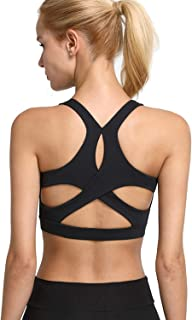 Helisopus Women's Cross Back Sports Bra Yoga Bra Wirefree Padded Medium Support Active Workout Tops