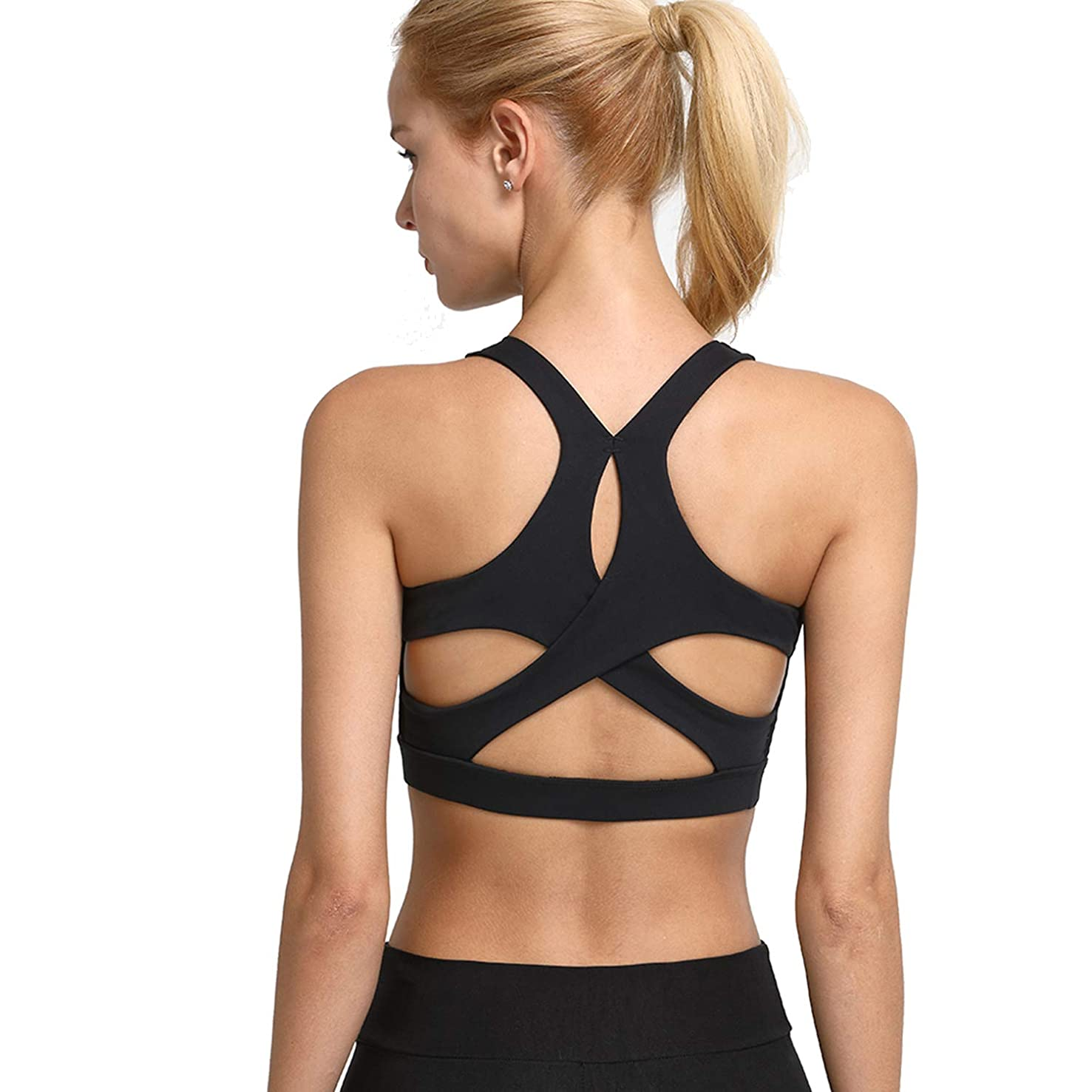 Helisopus Women's Crisscross Back Yoga Gym Running Sports Bra Actives and Fitness Tops