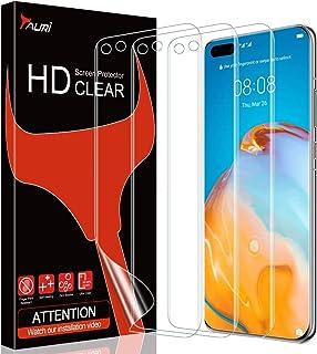 TAURI 3-pack skärmskydd för Huawei P40 Pro ingen vätska enkel installation max täckning HD klar TPU flexibel film