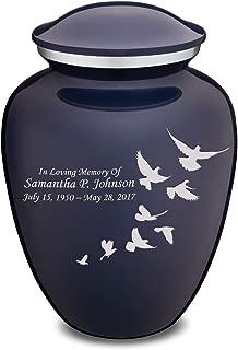 GetUrns Adult Embrace Doves Cremation Urn for Ashes with Custom Engraving Cobalt Blue