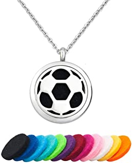 LoEnMe Jewelry Essential Oil Diffuser Music Note Soccer Baseball Bat Necklace