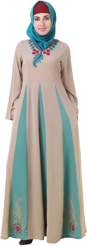 MyBatua Abaya with Hijab Jilbab Islamic Clothing Maxi Dress Muslim Grey & Green Burqa AY664