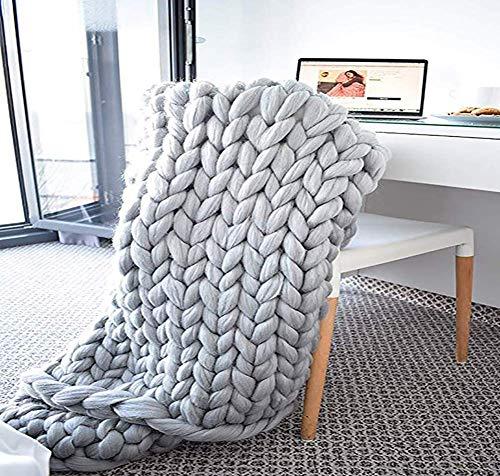 Ruwe deken gebreide deken, gebreide deken, handgemaakte dikke deken, voor slaapkamer, woonkamer, yogamat tapijt, geel, 120 * 150Cm