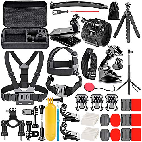 Neewer Upgraded 50-in-1 Action Camera Accessory Kit Compatible with GoPro Hero 9 8 Max 7 6 5 4 Black GoPro 2018 Session Fusion Silver White Insta360 DJI AKASO APEMAN Campark SJCAM Action Camera