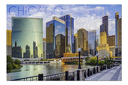 Chicago, Illinois - Skyline and River (Premium 1000 Piece Jigsaw Puzzle for Adults, 18x24, Made in USA!)