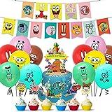Tomicy Decoración para Fiestas, Bob Esponja Suministros para Fiesta Cumpleaños Cake Toppers Bob Esponja Globo Cumpleaños Banner Decoraciones Accesorios para Niño (38pcs)