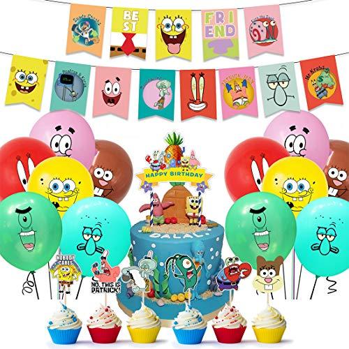 Tomicy Decoración para Fiestas, Bob Esponja Suministros para Fiesta Cumpleaños Cake Toppers Bob Esponja Globo Cumpleaños Banner Decoraciones Accesorios para Niño (38pcs) ✅