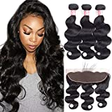 LSHAIR Brazilian Body Wave Bundles with Frontal (22 20 18 with 16) Ear to Ear Lace Frontal Closure with Bundles 10A Brazilian Body Wave Frontal with Baby Hair Natural Black Color