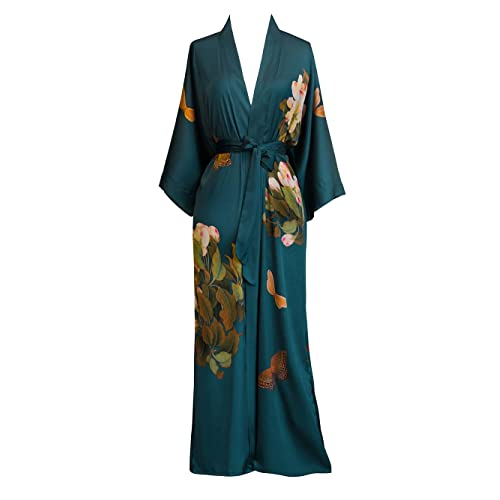 Old Shanghai Women s Kimono Robe Long - Watercolor Floral e0e4db8c2