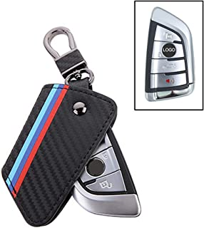 Thor-Ind Carbon Fiber Pattern Leather Key Fob Cover Case Bag for BMW New 2 5 7 Series X1 X5 X6 2014-up 3/4 Buttons Keyless Entry Control Smart Key Protective Shell Holder (B Type)