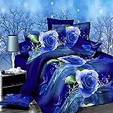 dDanke, Set di biancheria da letto da 4 pezzi, 1,8 m, stampa con motivo rose blu con effetto 3D, include 1copripiumino, 1lenzuolo e 2federe