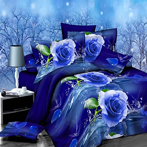 dDanke, Set di biancheria da letto da 4 pezzi, 1,8 m, stampa con motivo rose blu con effetto 3D,...