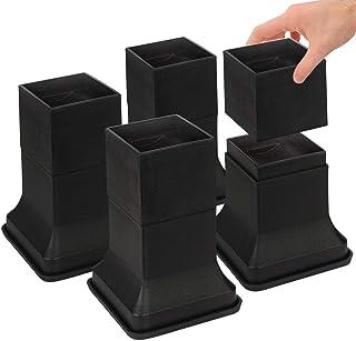 Uping テーブル・ ベッドの高さ調節が簡単にできる ベッド の高さをあげる足 4個セット 高さを上げる 高さ調節脚 こたつ 継足し 継ぎ足 テーブル脚台 高さ調整 暖房器具 (耐荷重1000kg) ブラック