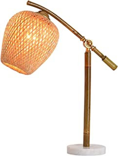 YUXINYAN Lampe de Salon à Poser Rétro Bambou Tube Lampe de Table avec la Main en Bambou tissé Abat Angle réglable Lampes d...