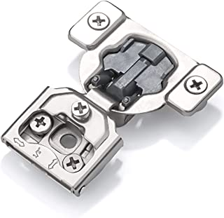 Luokim 40pcs Soft-Close Face Frame Hinges with Built-in Damper,1/2'' Overlay,Cabinet Concealed Hinges,Nickel Finish