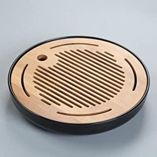 Hoobar Bamboo Kungfu Tea Tray Round Table Serving Tray Chinese Style Water Storage (Round Black)