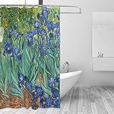 Ahomy Duschvorhang Van Gogh Schwertlilien Blume Bad Vorhang Wasserdicht Polyester-Mildewproof-, Vorhang für die Dusche 12Haken Sichtschutz Home Badezimmer 182,9x 182,9cm
