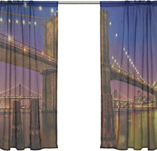 RH Studio Sheer Curtain Drape 2 Panel Brooklyn Bridge Landmark Historic Door Window Gauze Curtains for Living Room Bedroom Office(55x78inch)