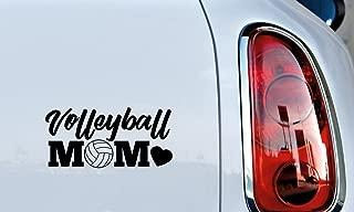 Mom Volleyball Heart Car Vinyl Sticker Decal Bumper Sticker for Auto Cars Trucks Windshield Custom Walls Windows Ipad Macbook Laptop Home and More (BLACK)