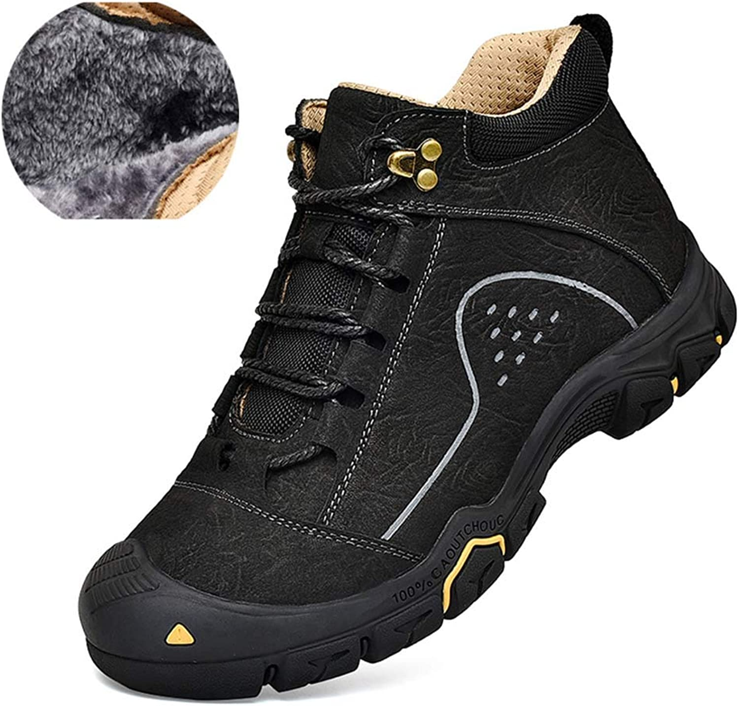 Men's Winter Hiking shoes Outdoor Casual high-top Non-Slip wear-Resistant Leather shoes