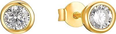 s.Oliver , Boucles d'oreille à bouton pression Argent Oxyde de Zirconium femme, Or, klein - 2032975