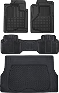 Motor Trend All Weather Semi-Custom Fit Heavy Duty Rubber Floor Mats for Auto Car Truck SUV (2 Front, 1 Liner & Cargo Mat)