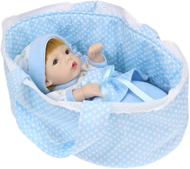 IIWOJ Reborn bebé mueca Mini simulado Grande-Eyed mueca de Silicona 28cm Lindo y Realista (Azul)
