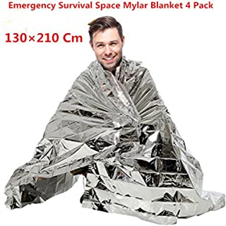 Emergency Mylar Survival Blankets Space Blanket Ultra Durable Car Kit Emergency Sleeping Bag Shelter Kit Camping Hiking Earthquake Keep Warm Blanket 130×210 4Pack