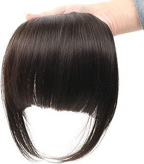 HUA MIAN LI Bob Flat Hair Bangs Heat Resistant Synthetic Hair Clip-in Bangs Black Straight Bangs With Fringe One Piece Clip Aoert