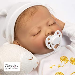 Paradise Galleries Newborn Reborn Baby Doll with Magnetic Pacifier, Wishes and Dreams, 21 inch Sleeping Newborn Girl in GentleTouch Vinyl, 6-Piece Doll Gift Set