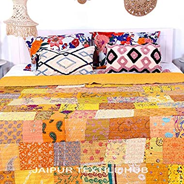 Jaipur Textile Hub Bohemian Quilts Queen Kantha Quilts Patchwork Vintage Bedspread Decorative Bedding Bedspread Indian Cotton