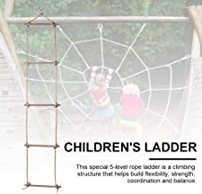 Xeroy Climbing Ladder Outdoor Sturdy Playground Accessories Children's Playground Sports Climbing Toys, Rope Wooden Five-Level Ladder Gymnastic Climbing Rope Ladder Pretty