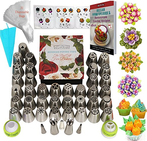 K&S Artisan Russian Piping Tips 77 pcs Genuine 42 Icing Nozzles Pro Flower Frosting Tips 31 Pastry Bags 2 Sphere Ball Tips + Ebook User Guide - Best Russian Cake Decorating Tips Gift Box