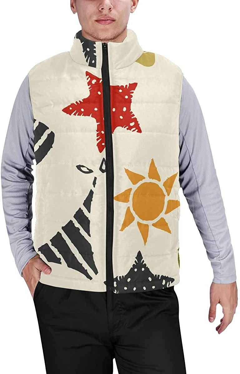 InterestPrint Men's Outdoor Casual Stand Collar Sleeveless Jacket Sun and Moon with Face