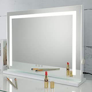 SHOWTIMEZ Makeup Mirror Vanity Mirror with Lights, Dressing Table Vanity Set Mirrors with Dimmer,  3 Light Color Option,  Touch Screen Control and USB Outlets,  W22.8H16.9inch