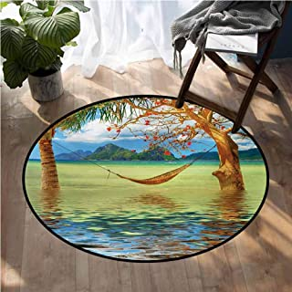 Beach Outdoor Rugs Image of Hammock Hanging Between Trees in The Tropical Lake Paradise Lands Art Work Soft Living Dining Room Round Rug D60 Inch