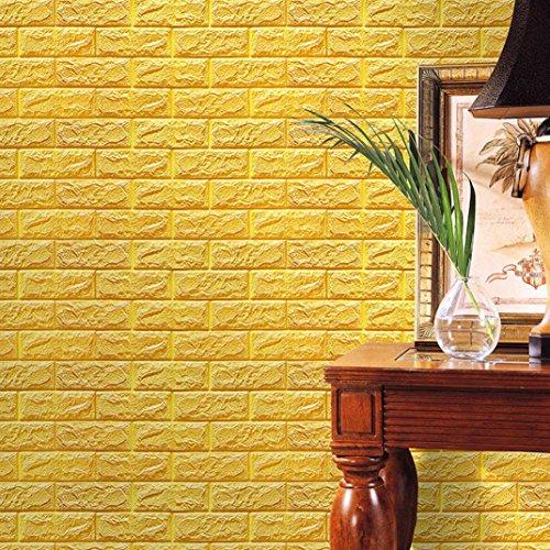 FAMILIZO PE de Espuma de 3D Wallpaper DIY Pared Pegatinas Decoración de Pared en Relieve Piedra de ladrillo (60_x_60_cm, Amarillo)