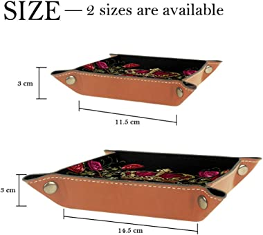 Embroidery Revolvers Golden Crown Guns and Roses Leather Tray Dice Box Bedside Tray Key Watches and Candy Holder Sundries Entryway Tray,20.5x20.5cm