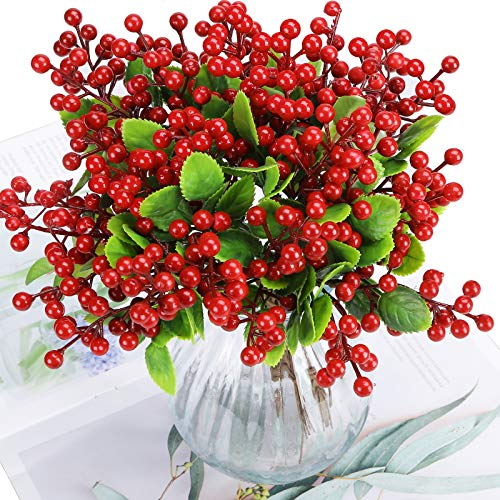 Felice Arts Artificial Red Berry, 12 Pack Christmas Berry Stems Faux Holly Berries Branches for Christmas Tree Fireplace Wreath Crafts Holiday and Home Decor